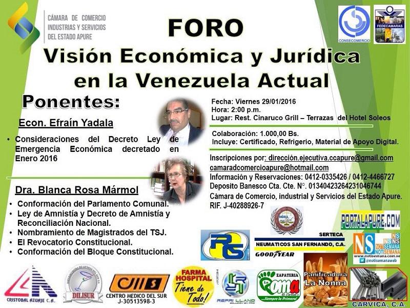 Foro edo Apure: Visión económica y jurídica en la Venezuela actual