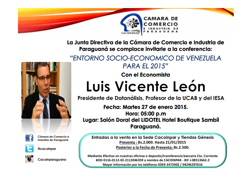 Con el economista Luis Vicente León – Martes 27 de enero de 2015