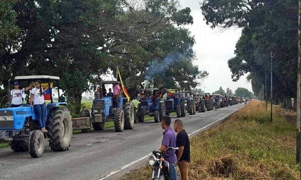 """Con un """"tractorazo"""" agricultores y ganaderos exigen respecto a la constitución"""
