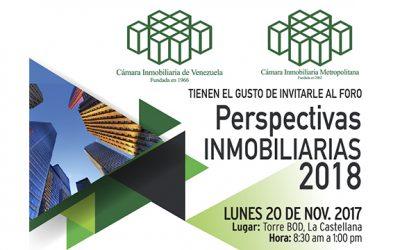 Foro Perspectivas Inmobiliarias 2018 se realizará el 20 de noviembre