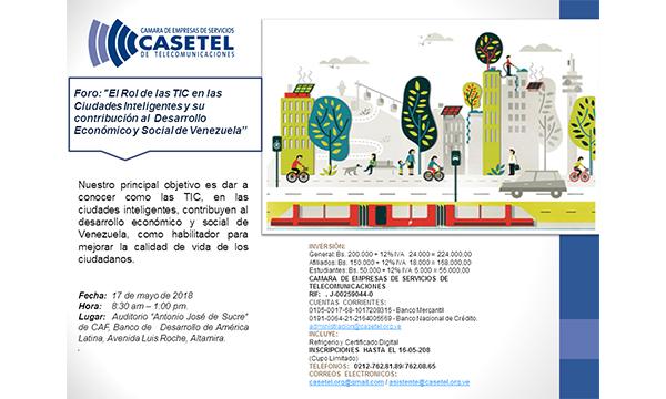 """Foro: """"El Rol de las TIC en las Ciudades Inteligentes y su contribución al Desarrollo Económico y Social en Venezuela"""""""