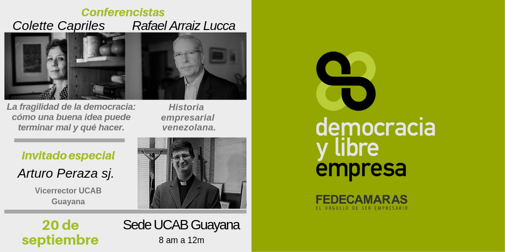 """Fedecámaras Bolívar invita a conferencia """"Democracia y Libre Empresa"""""""