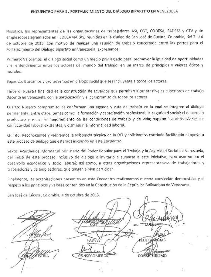 Encuentro para el fortalecimiento del diálogo bipartito en Venezuela