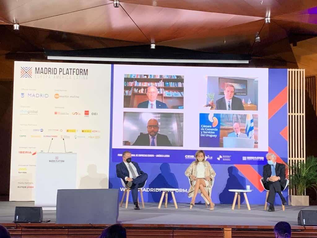 Participantes en el conversatorio de presidentes de organizaciones empresariales iberoamericanas en el marco de Madrid Platform